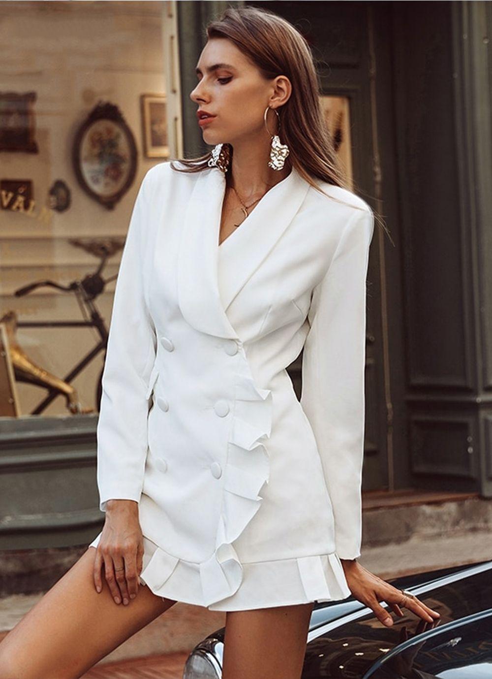 bf67f934f0c White Blazer Dress. White double breasted blazer dress with flirty ruffle  hem