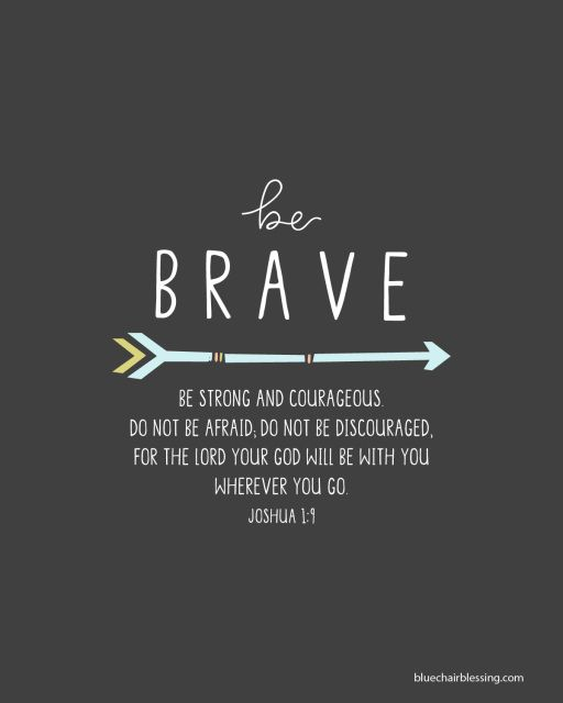 Be Brave hand letterd 8 by 10 print
