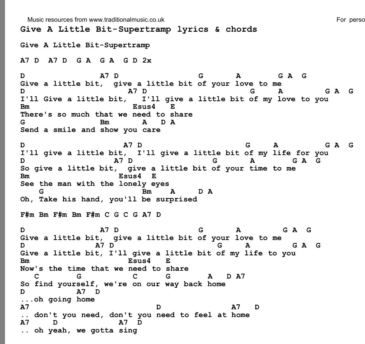 Supertramp Give A Little Bit Songs Chords An Lyric Pinterest