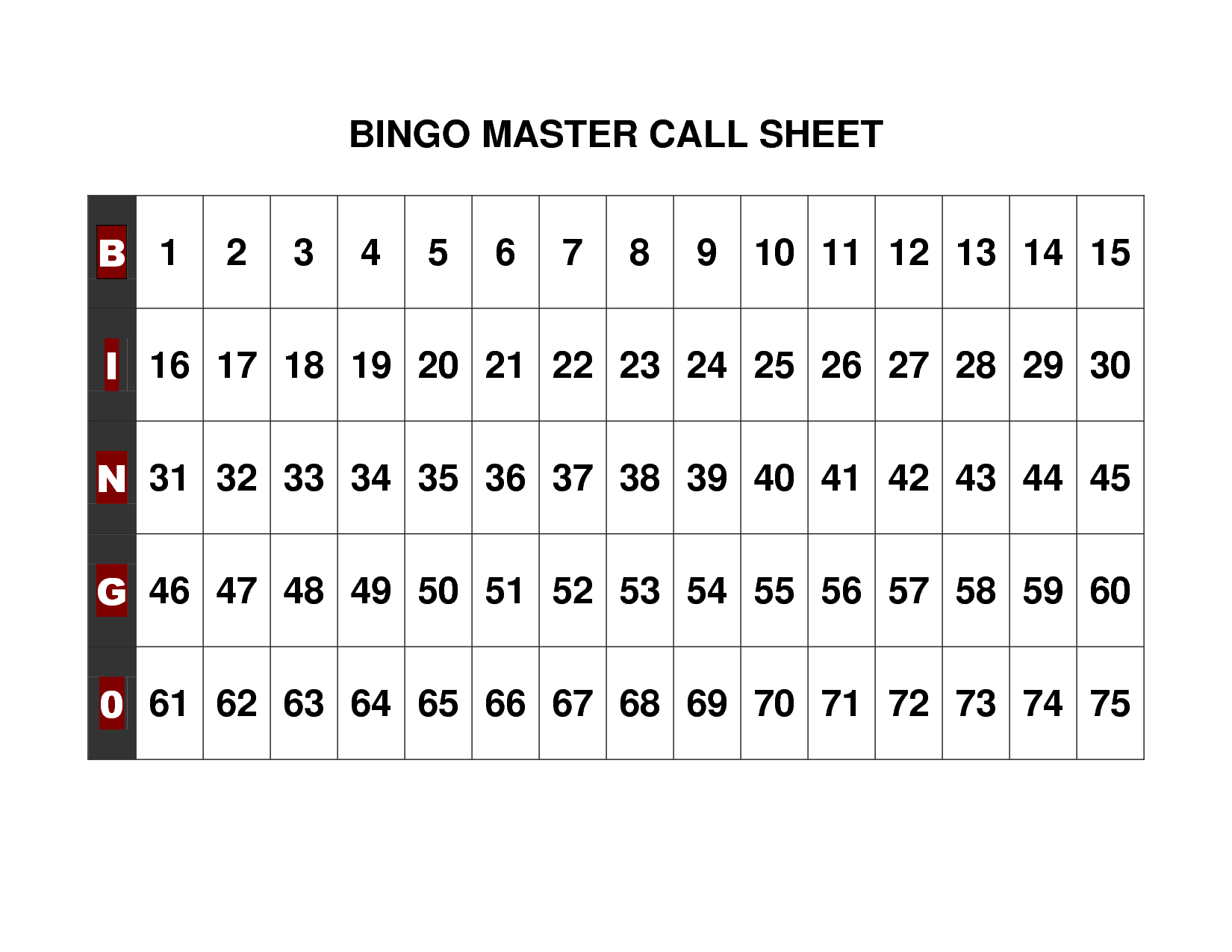 Modest image with printable bingo numbers 1-75