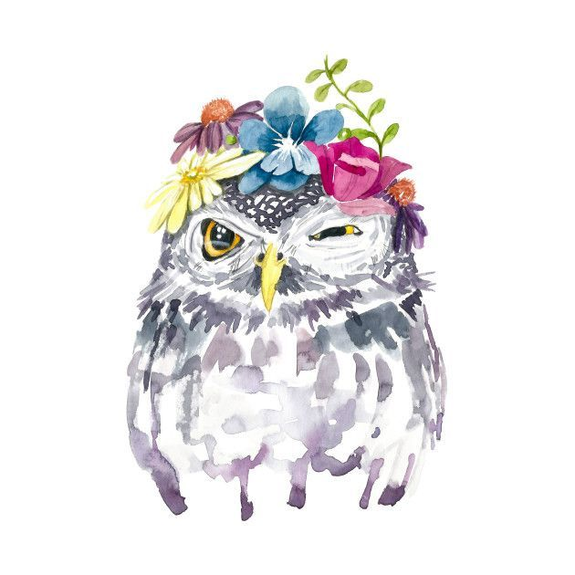 Watercolor Foral Owl ad