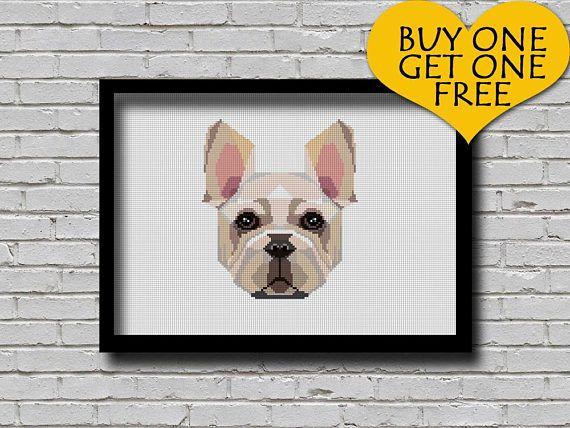 Cross Stitch Pattern French Bulldog Pet Pattern Modern