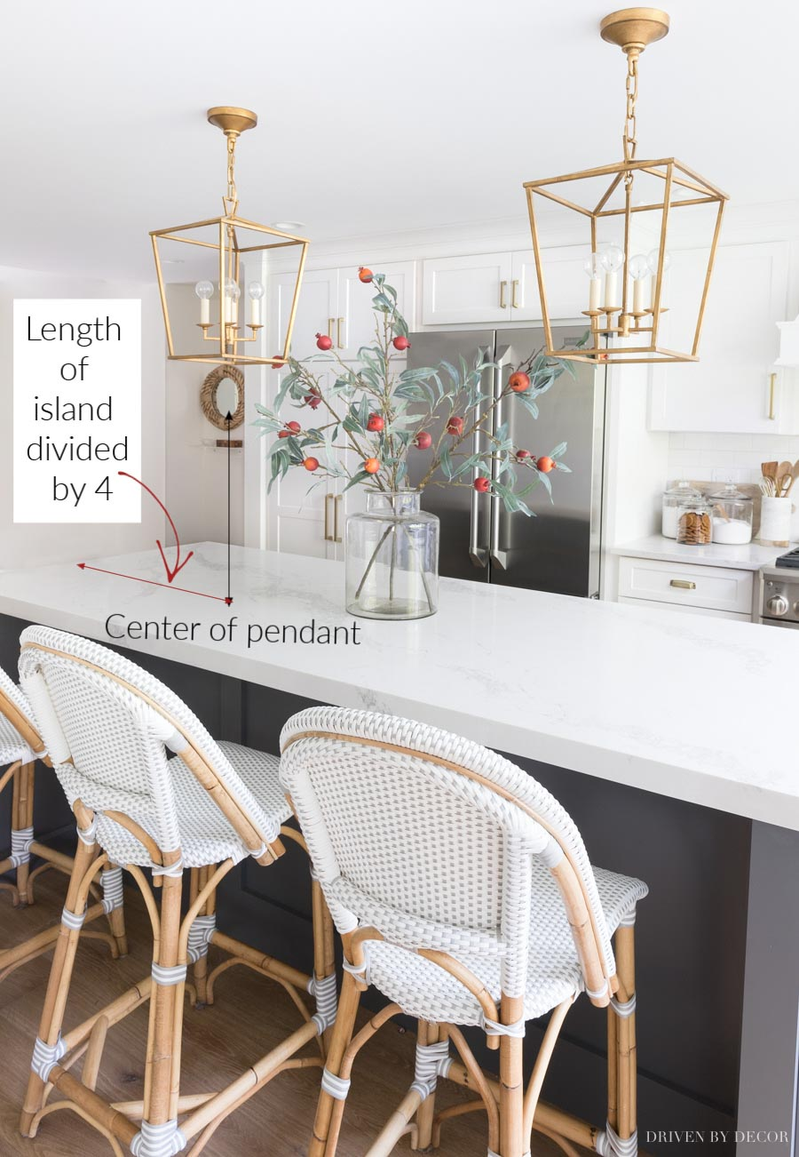 Height & Spacing of Pendant Lights Over a Kitchen Island: My Must-Have Tips! | Driven by Decor