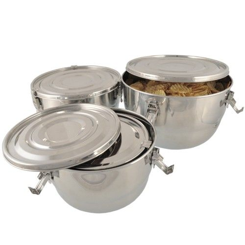 Set of 4 Large Stainless Steel Airtight Containers