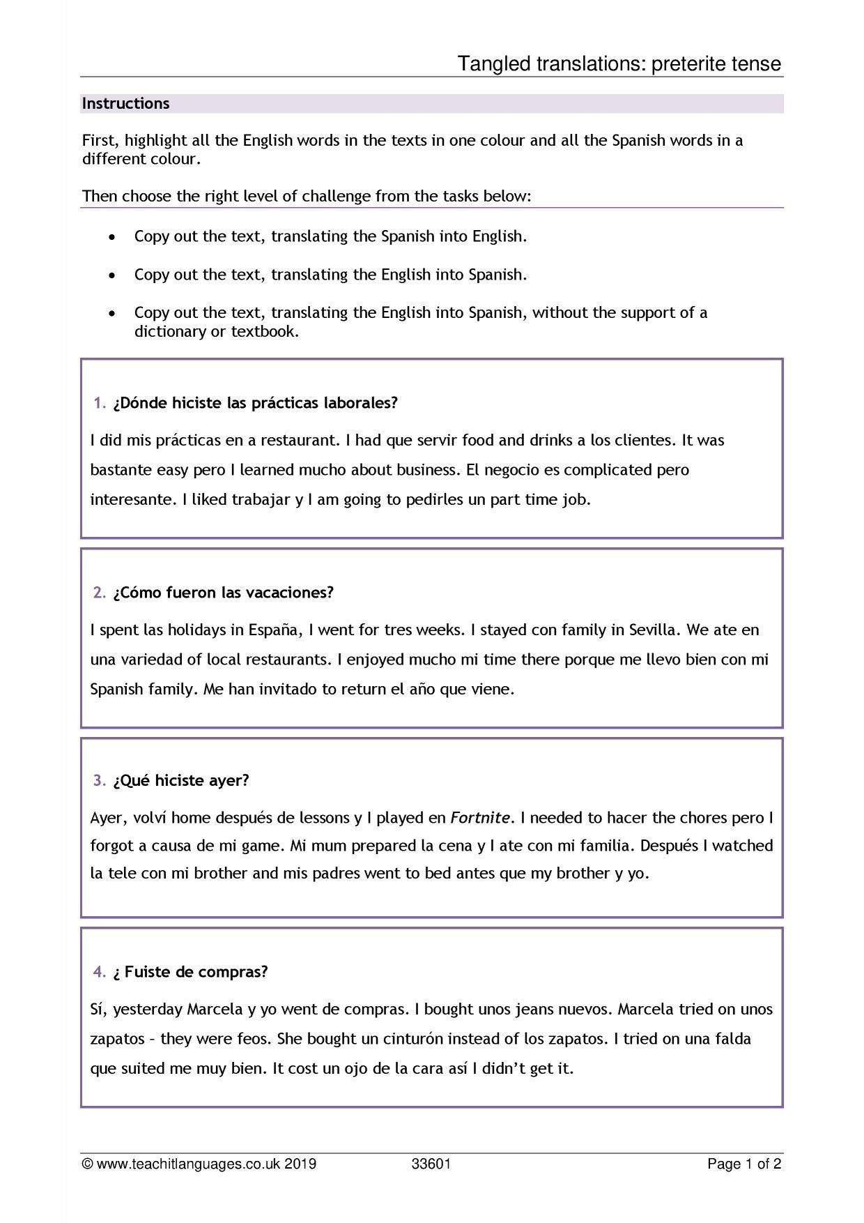 El Robot Spanish Worksheet Answers Spanish Language Teaching Resources Teachit Languages In 2020 Language Teaching Book Report Templates Teaching Resources