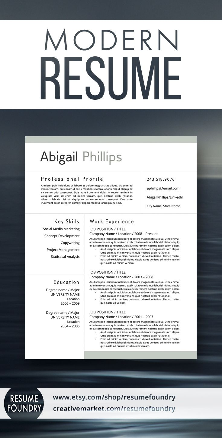 Modern Resume Template For Use With Microsoft Word  Nothing