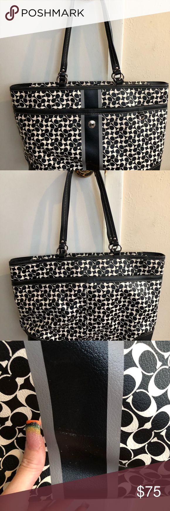 Coach bag Coach bag used a couple times. Has a few white marks see in pictures. You could use as a laptop bag if wanted too I used it as a purse. Coach Bags Shoulder Bags