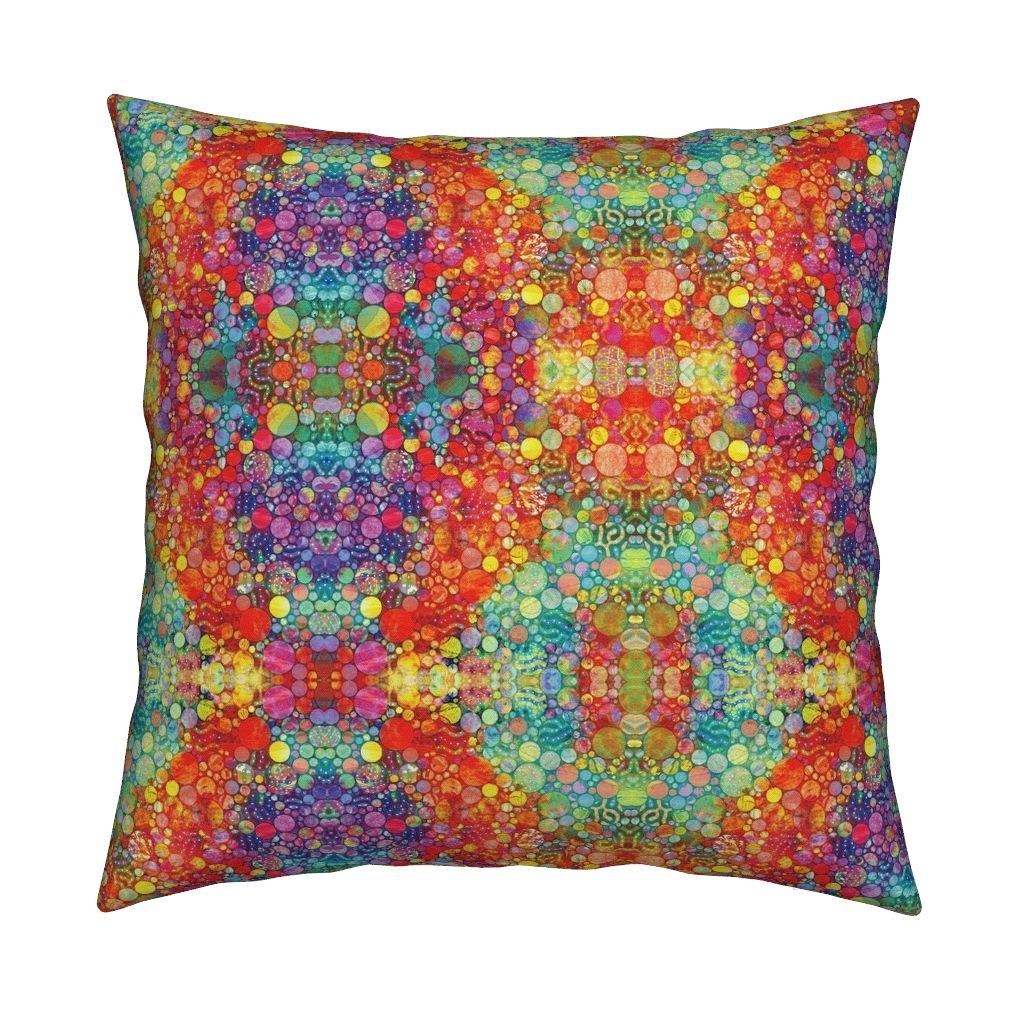 Catalan Throw Pillow featuring HOLI HINDU FESTIVAL OF COLORS GEOMETRIC DELHI by paysmage | Roostery Home Decor