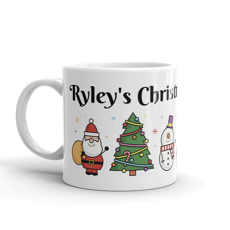 PERSONALISED MUG CUP CARTOON CHRISTMAS KIDS