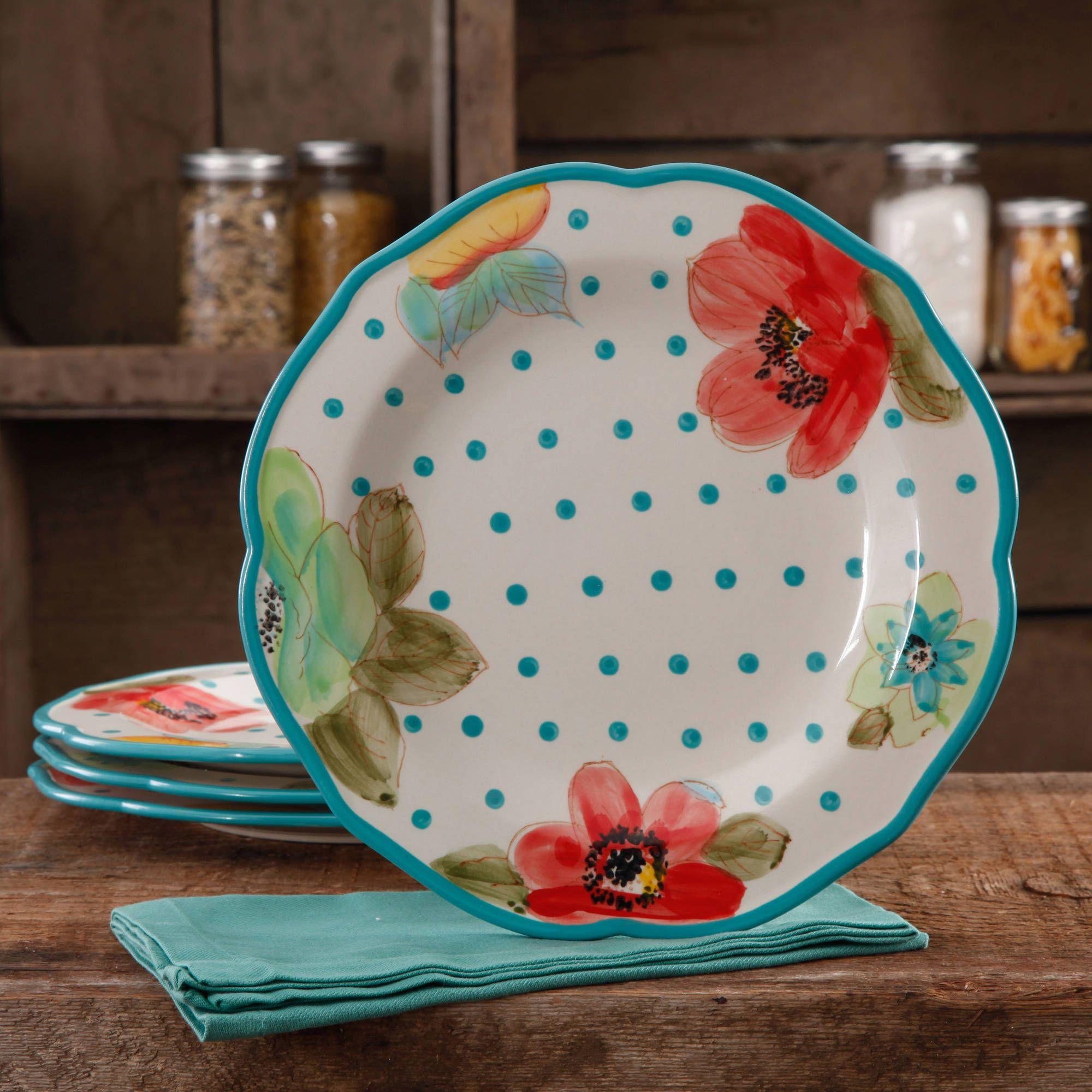 The Pioneer Woman Vintage Bloom 4-Pack Scalloped Dinner Plate Set Multi-Color & The Pioneer Woman Vintage Bloom 4-Pack Scalloped Dinner Plate Set ...