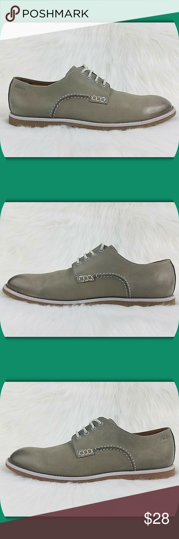 f9487974a0c CLARKS Nubuck Leather Casual Plain Toe Derby Shoes CLARK S MEN S DERBY SHOES  Color  Light Olive