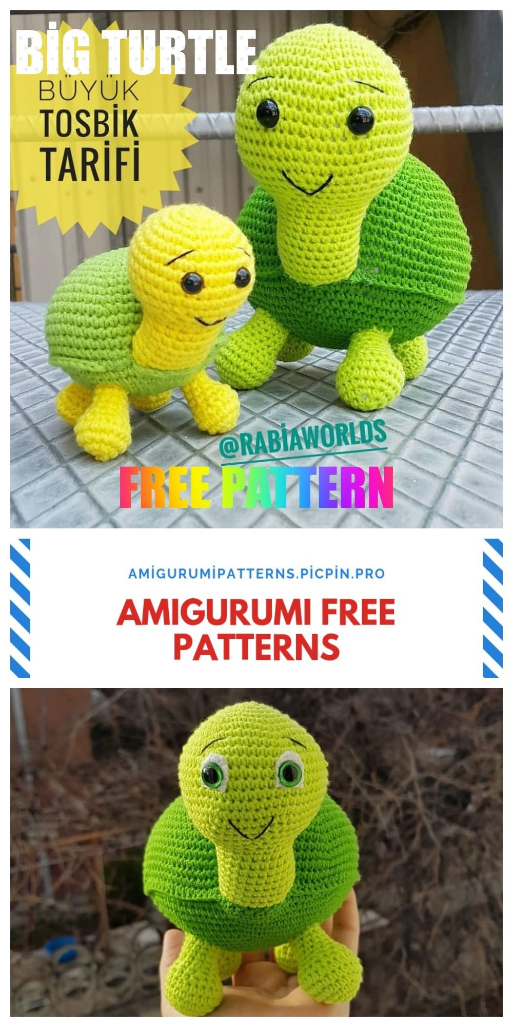 Amigurumi Big Turtle Free Crochet Pattern - Amigurumi Patterns #crochetturtles