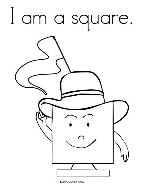 Square with Hat Coloring Page | KID STUFF | Pinterest | Squares