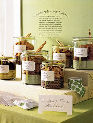 Cookie buffet -- strips of patterned paper wrapped in clear containers!