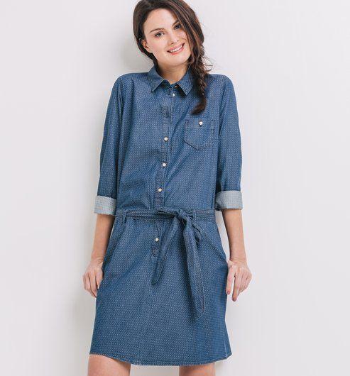 de7937bec0cd9d Robe-chemise en jean Femme imprimé bleu - Promod   wish en 2019 ...