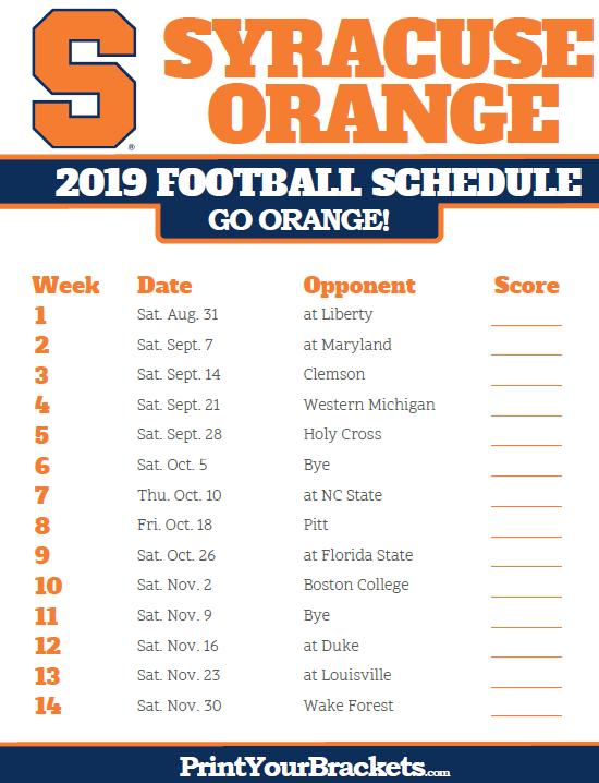 photo relating to Syracuse Basketball Schedule Printable named Printable 2019 Syracuse Orange Soccer Routine Printable