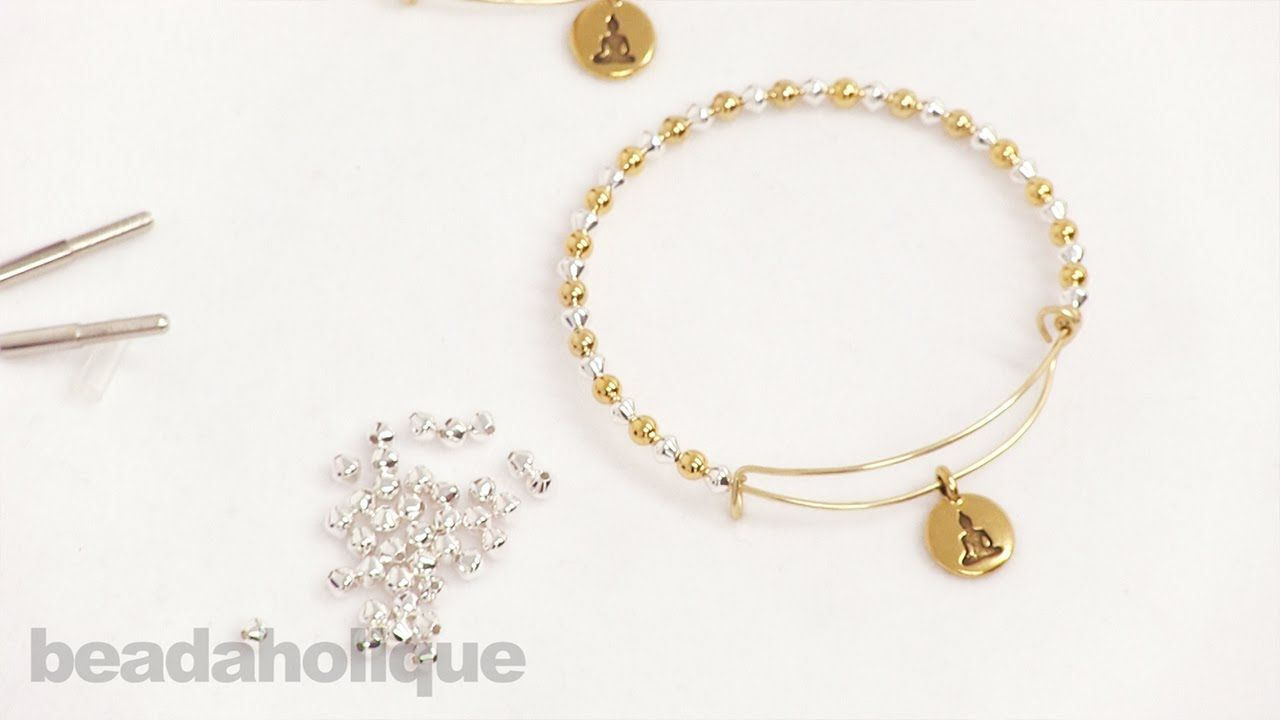 How to Add Beads and a Charm to an Expandable Charm Bangle made ...