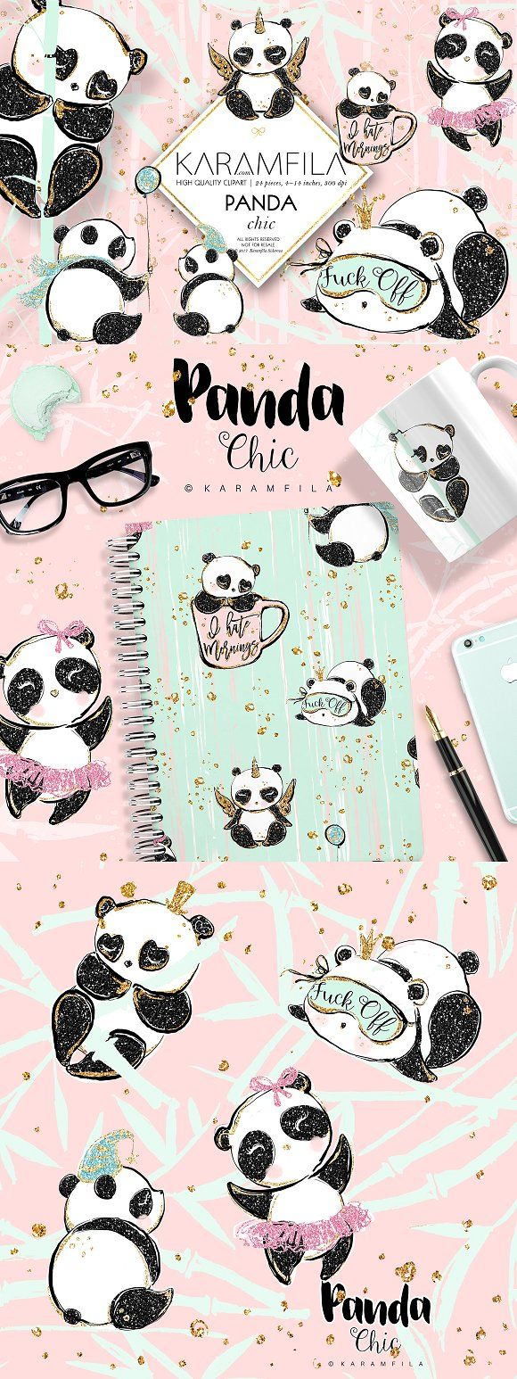 Cute Pandas Clipart by Karamfila on creativemarket