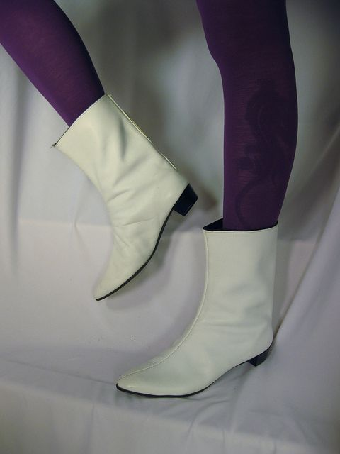 Vintage 1960's mod white leather go go boots | Gogo boots