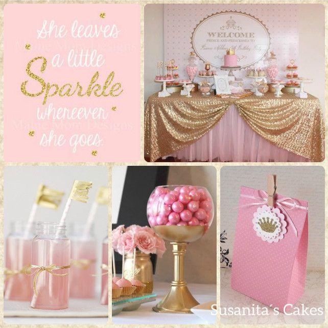 Ideas para una fiesta en colores rosado y dorado - Ideas decoracion cumpleanos nina ...