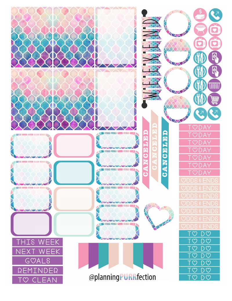 Free watercolor planner stickers for hp printables 3d planner free