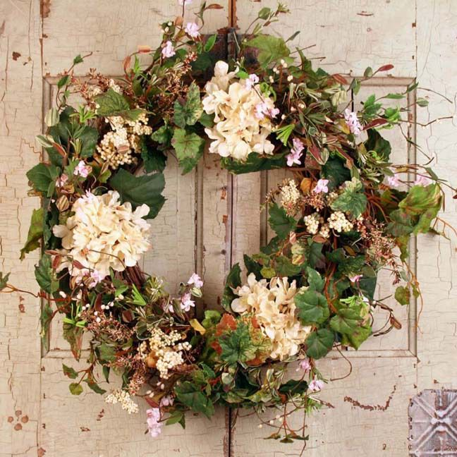 Lovely 20 Cottage Style Landscaping Ideas To Enhance Your: Summer Garden Spring Door Wreath - 22 Inch