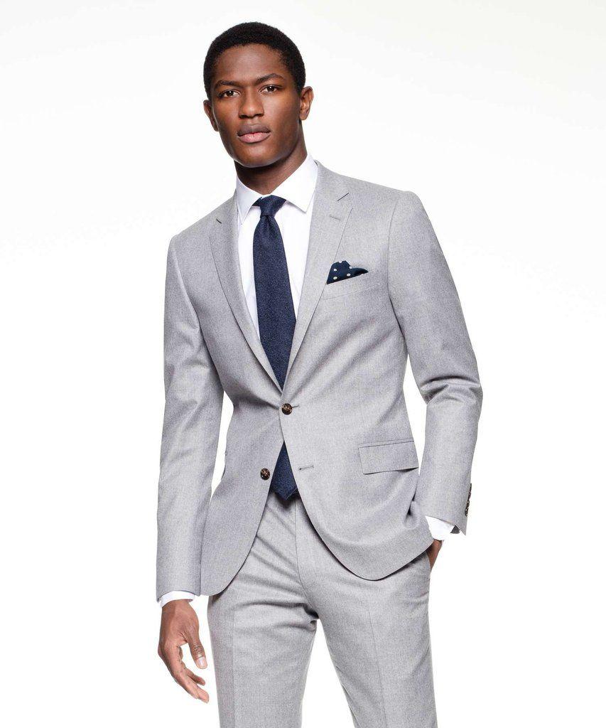 Suit Jacket in Italian Light Grey Heather Wool Flannel