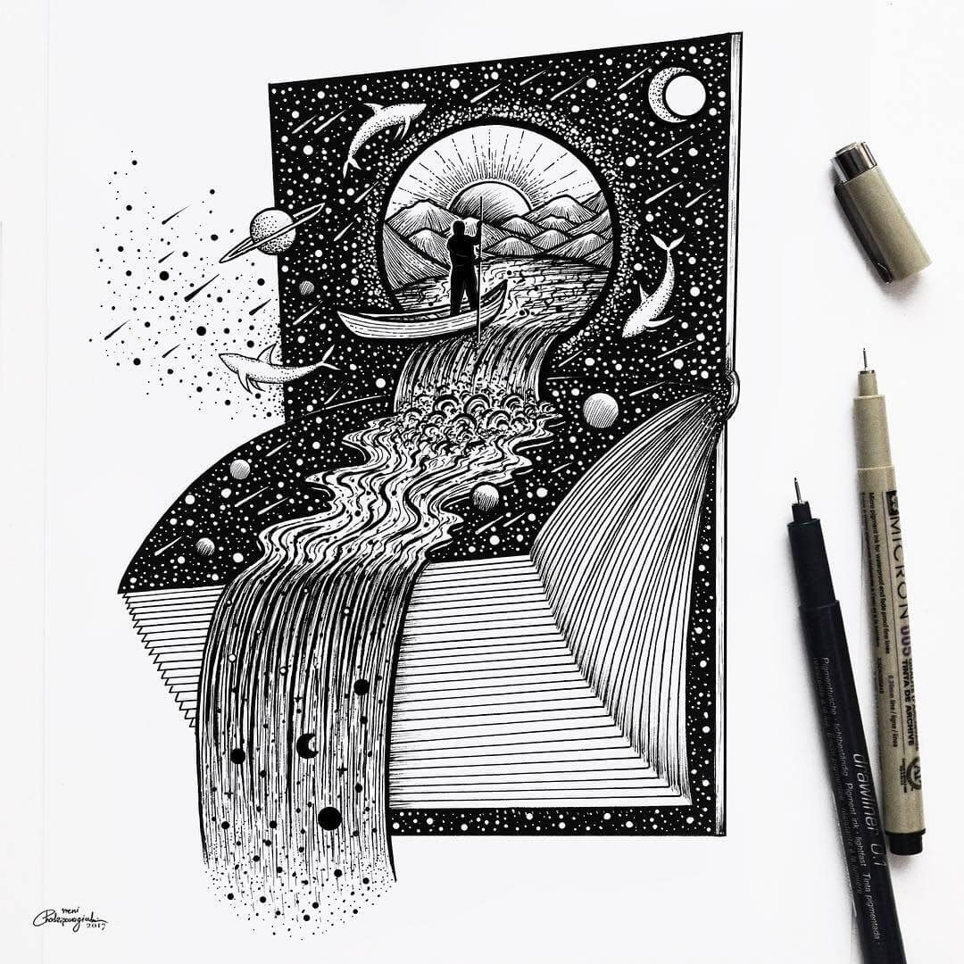 Fantasy and Surrealism in Ink Illustrations #spacedrawings