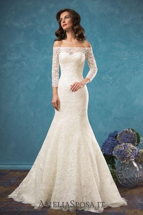 Wedding dress Celia - AmeliaSposa. This elongated mermaid silhouette ...