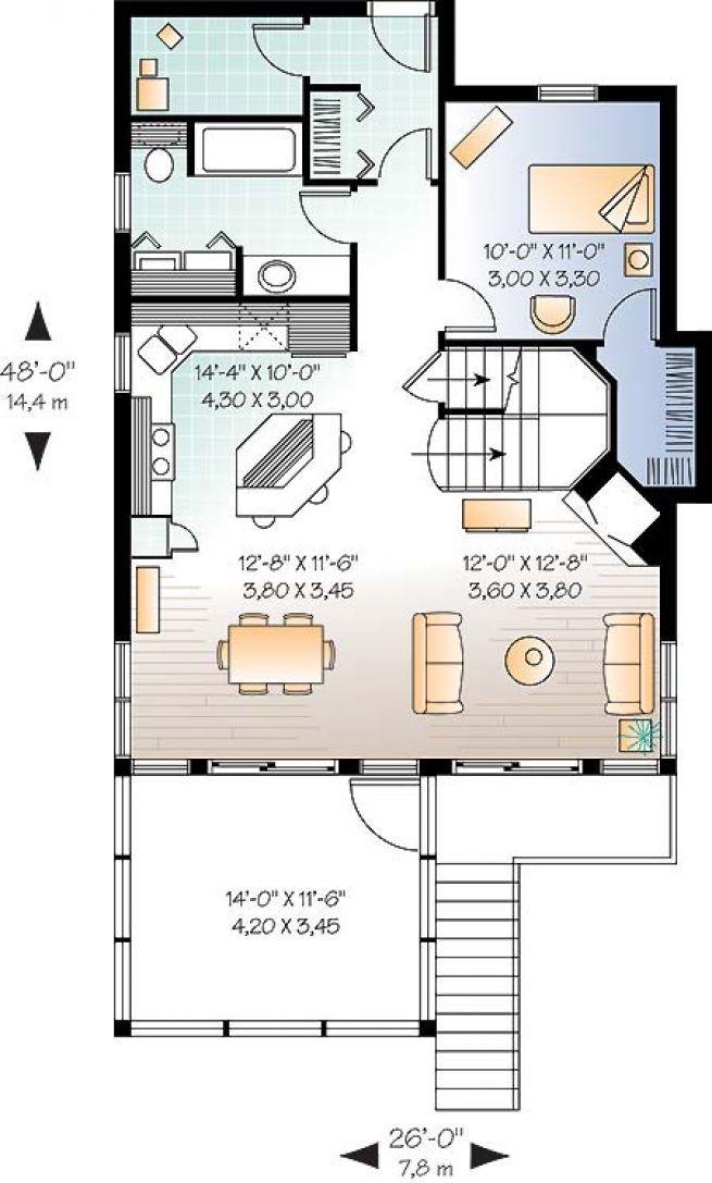 Plan de Rez-de-chaussée Chalet 4-saisons style transitionnel, avec 3 - plan maison etage m