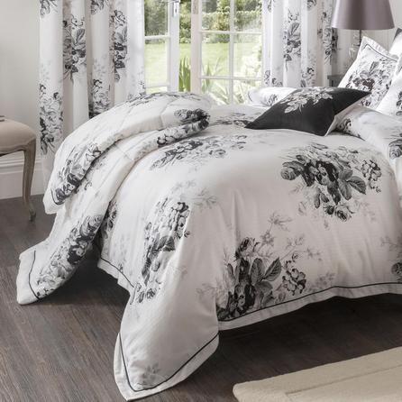 Dorma Black And White Gardenia Collection Bedspread Dunelm