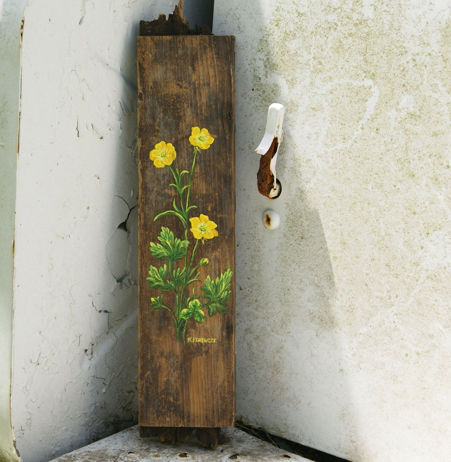 Vintage Paintings On Wood   Yellow Buttercup Flower Painting Antique Wood by HollyFerencze