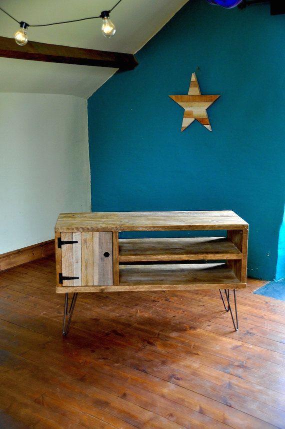 Reclaimed wood Sideboard Steel Hairpin Legs Rustic Industrial TV