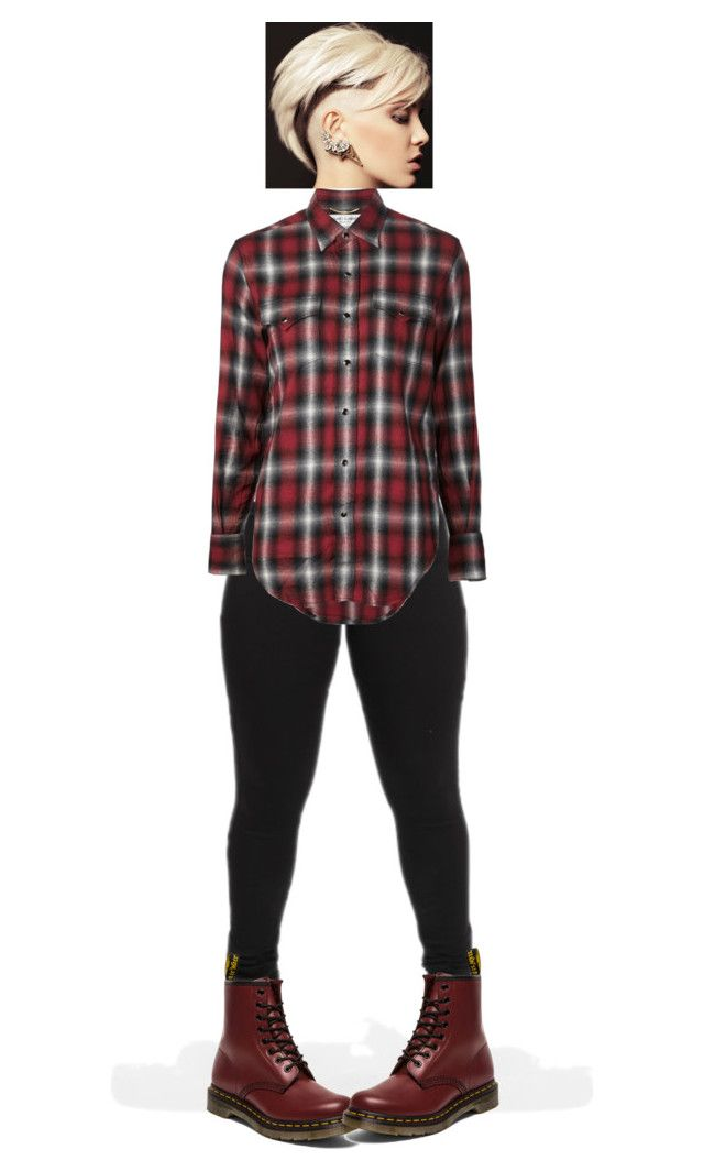 """""""True self"""" by crazzyko ❤ liked on Polyvore featuring Yves Saint Laurent and Dr. Martens"""