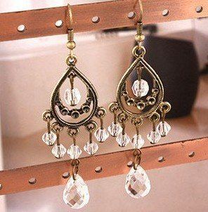 Bohemian Antique Gold pearl Vintage Earring