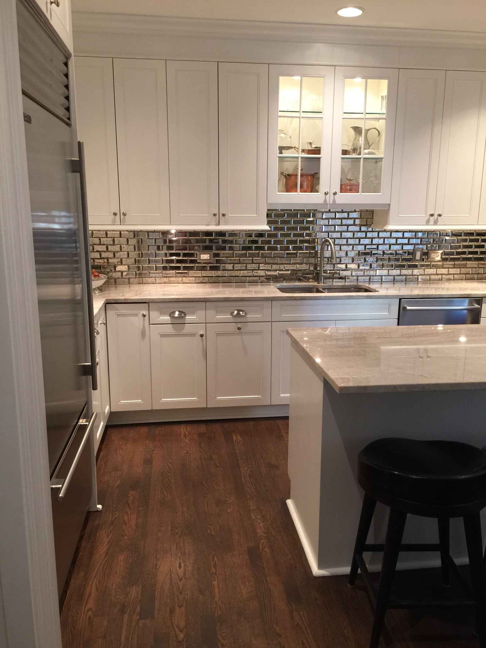 White Kitchen Backslash 2016. Antique Mirror Subway Tiles