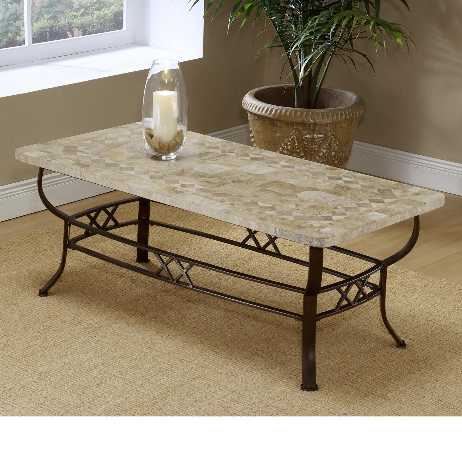 brookside fossil stone coffee table | from hayneedle | home