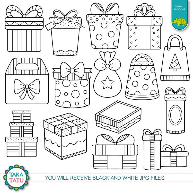 Gifts Digital Stamp Pack Gift Clipart Gift Box Clipart Etsy In 2021 Digital Stamps Stamp Clip Art