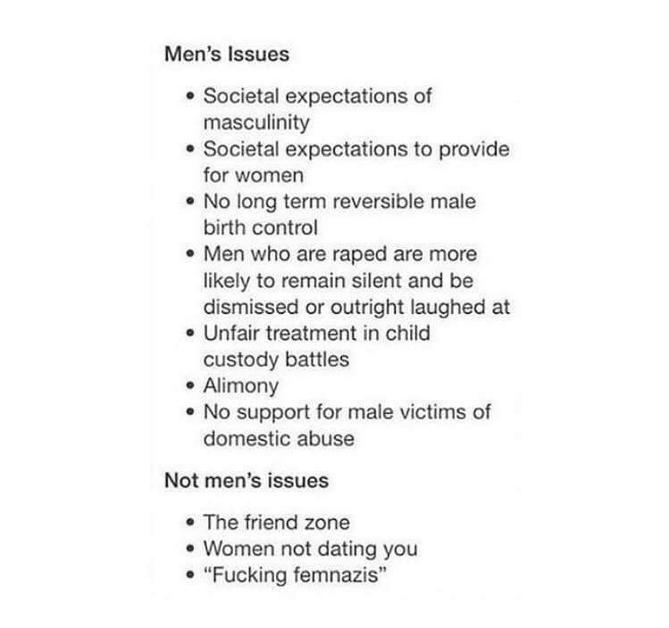 Stop the oppression of men in society. Both genders are being attached for being human, Feminism is the answer for equality.