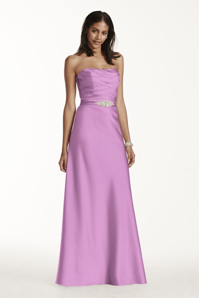 Extra Length Extra Long Strapless Satin Bridesmaid Dress With