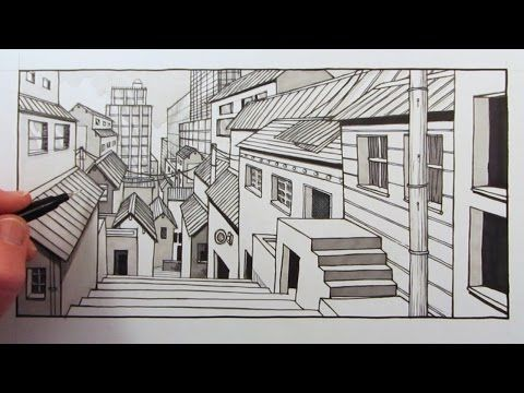 How To Draw A City Background In One Point Perspective Time Lapse Line Art Drawings One Point Perspective City Background