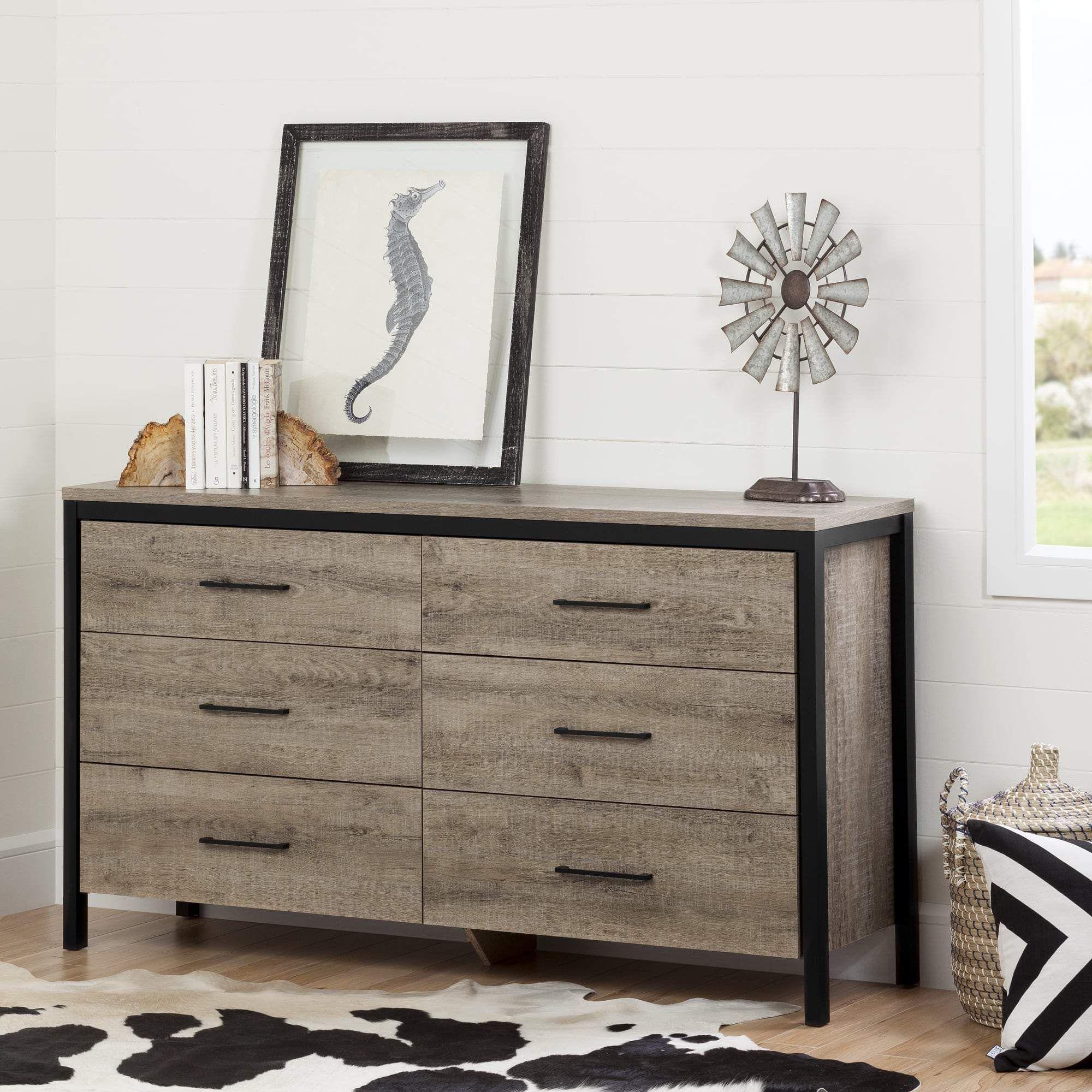 South Shore Munich Oak Laminate 6 Drawer Double Dresser Relooking Bureau Decoration Bureau Meuble
