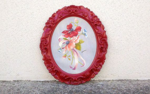 Vintage Oval Framed Art Red Frame Oil Painting By CurrentClassic 2300
