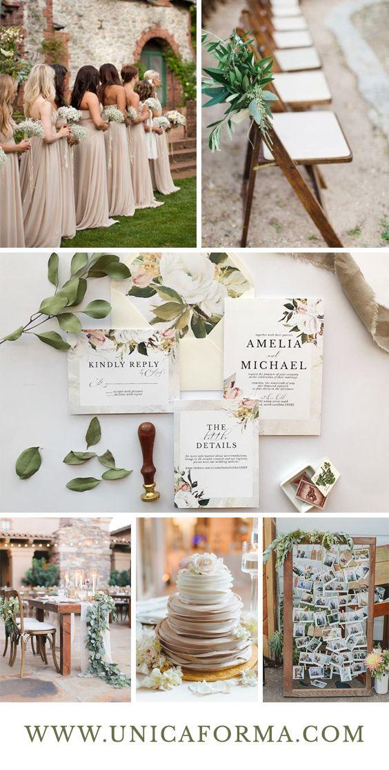 Greenery wedding, wedding photo display, taupe wedding, taupe ...