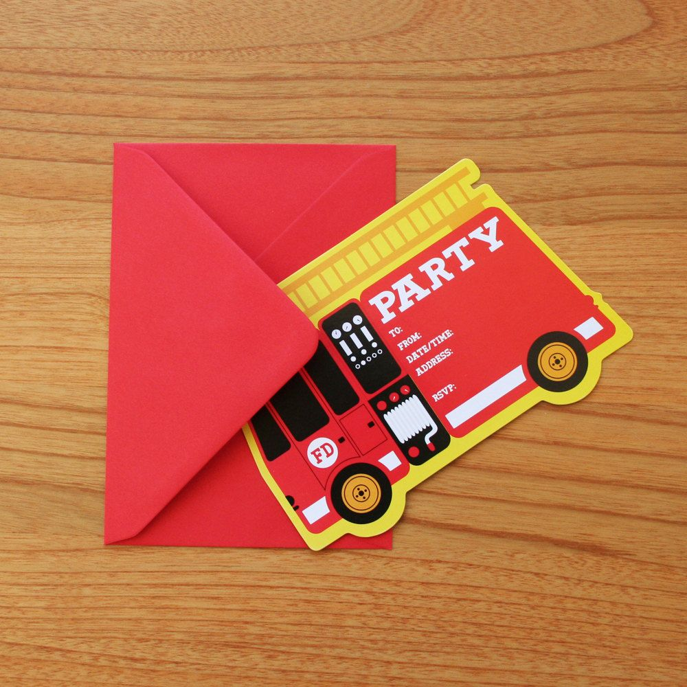Fire Engine/Truck Kids Birthday Party Invitations. $14.95, via Etsy ...
