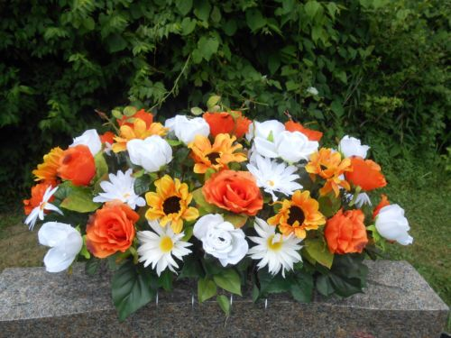 Headstone memorial tombstone cemetery silk flower saddle summer headstone memorial tombstone cemetery silk flower saddle summer orange white ebay mightylinksfo Choice Image