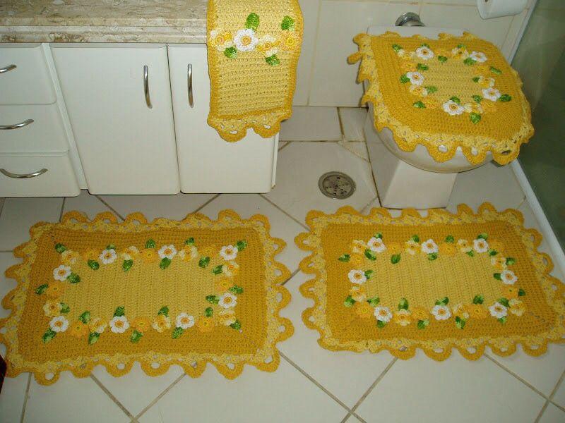 Jogo de banheiro amarelo c margaridas