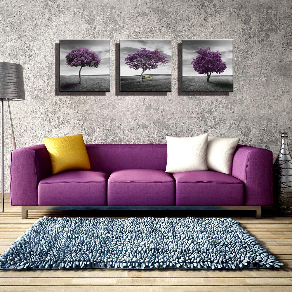 Wall Art 3 Panel Purple Trees Landscape Artwork Giclee Canvas Paintings For Living Room Wall Decor Posters And Prints Pictures Purple Living Room Living Room Paint Room Wall Decor