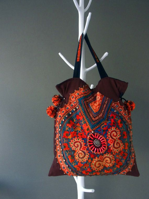 Ethnic Applique Tote Special Large // beading // by realmlistic, $106.00