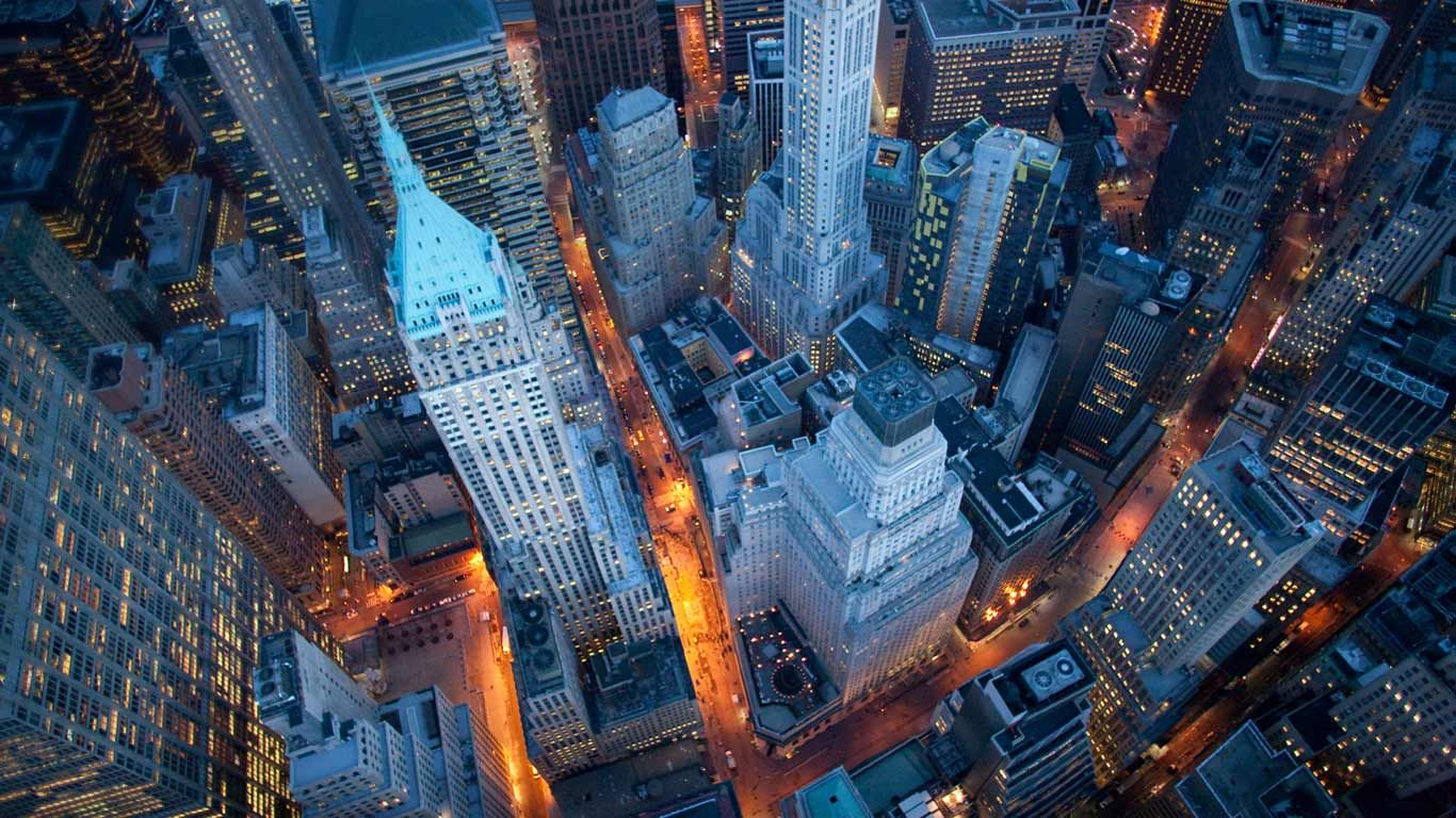 Aerial View Of Wall Street Manhattan New York Bing